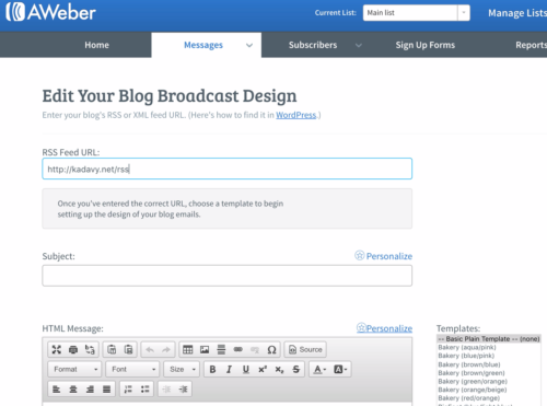 edit your blog broadcast design with RSS Feed URL field filled out