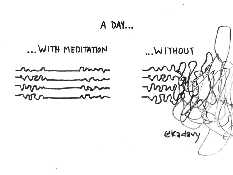 a day with meditation or without